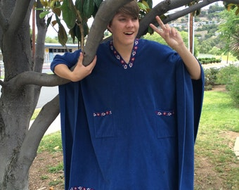 Big Hippie Poncho Red White and Blue Boho Hippy Festival Swim Suit Cover Men Women