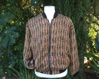 80s 90s Vintage Silk Scarf Print Bomber Jacket Brown Black Tribal Print Zip Up Jacket Robert Stock Large XL Men Women