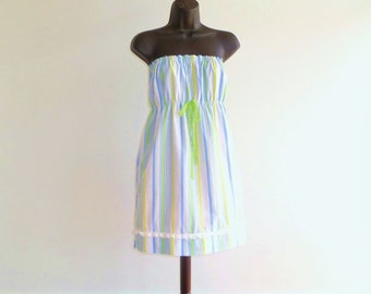 strapless dress // upcycled womens striped spring, summer dress // size small, medium