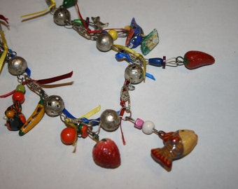 Vintage Mexican Wedding Folk Art Necklace Charms Milagros