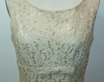 Vintage 1950s Cocktail Dress - Floral Cream Lace