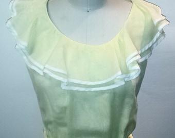 1960s Light Yellow Ruffled Dress - 60s Spring/Summer Dress