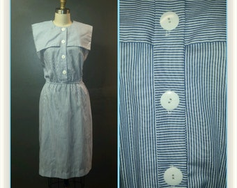 Vintage 1960s Day Dress - White and Blue Striped Print