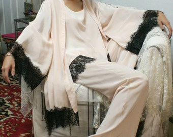 Silk Kimono Robe with Black Lace Trim Peach Silk Bridal Robe Lingerie