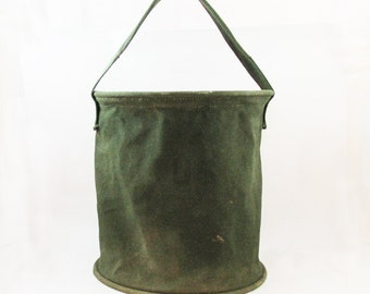 1950s U.S. Army Shower Pail - Canvas Bucket - Jeep Water Bucket