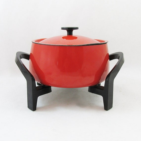 1970s West Bend Electric Fondue Pot Bright Red