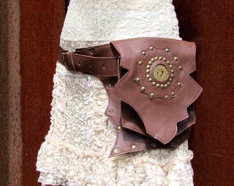 Leather Utility Belt Bag Steampunk Festival Butterfly Belt with Pockets in Light Brown