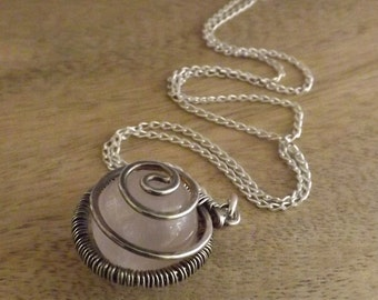 Handmade Rose Quartz Pendant Necklace, Sterling Silver Spiral Necklace, Modern Spiral Jewelry, Jewellery on Etsy by Mary-anne Fountain
