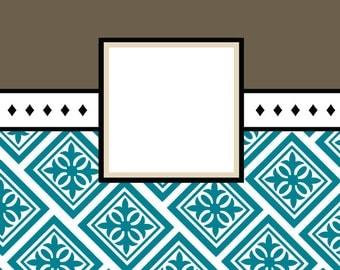 Note Cards with Envelopes (set of 10) - Stampable, Personalized - Tile Style
