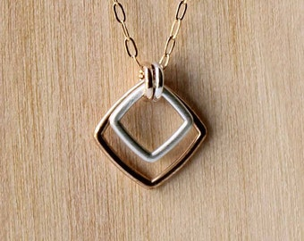 Square Pendant Necklace Geometric Barely There Gold Silver Two Tone - Delicate Simple Modern Minimalist Jewelry - BB, Diamond by 5050 STUDIO
