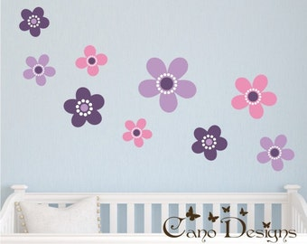 Flowers Set of 9, Reusable Fabric decals, Removable, reusable and repositionable fabric decal