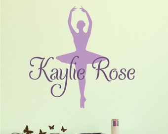 Ballerina Monogram Name Vinyl Wall Art, Initial and name vinyl decal, nursery, kids & teens room, custom removable decals stickers