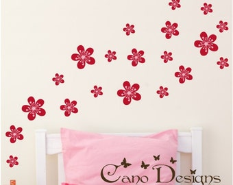 Flowers Reusable Fabric decals set of 20,  Removable, reusable and repositionable fabric decal