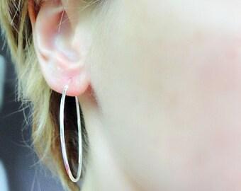 Large silver hoop earrings, sterling silver hoops, simple hoop earrings,  sterling silver earrings, modern jewelry, 925 silver earrings