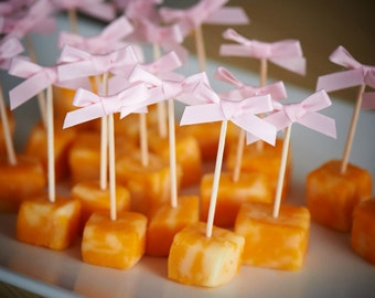 Food Picks for Princess Party.  Handcrafted in 2-3 Business Days.  Bow Picks.  Appetizer Picks 20CT.
