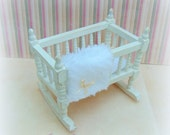 1:12 Crib, Dollhouse Cradle, Dollhouse Baby Cot, Country Cream Crib, Dollhouse Nursery Furniture, Dollhouse Baby Miniatures.