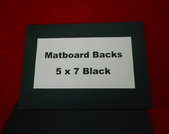Black Matboard Backs (50) 5 x 7 Backs Black both sides with Black core