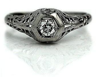 1930s Engagement Ring Diamond Ring 14K White Gold Ring Art Deco Unique Ring Solitaire Geometric Ring Size 6!