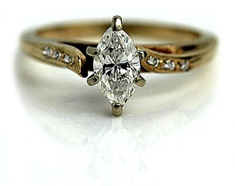 Marquis Engagement Ring .58ctw Vintage Marquis Diamond Ring14 Kt Yellow Gold Marquis Diamond Engagement Ring Circa 1970's Size 7