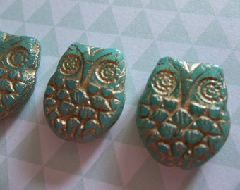 Designer Czech Glass Horned Owl Beads - 18mm X 15mm - Aqua Green Opaline with Gold Wash -  Double Sided Turquoise Owls - Qty 4