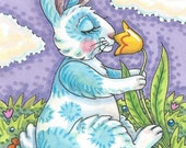 Spring Hare BUNNY Rabbit Flowers Art ACEO Susan Brack Ebsq