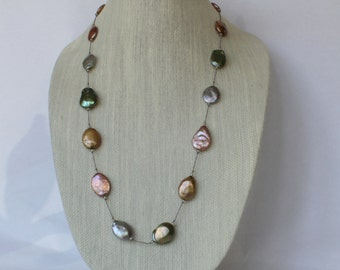 Colored Fresh Water Pearl Long Necklace