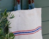 Grain Sack Tote.Blue Red Stripe Purse. Antique French Ticking .Recycled Leather Handles.
