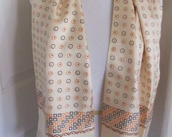 "Lovely 2 Layer Super Soft Ivory Orange Silk Scarf - 12 x 50"" Long - OMG My Fav"