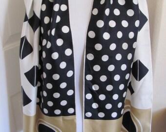 "ECHO Beautiful Vintage White Black Polka Dot Silk Scarf - 15"" x 60"" Long"