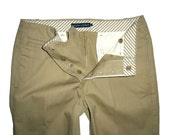 Vintage Womens RALPH LAUREN Brown Chinos Flared Pants Size 8 New Cotton