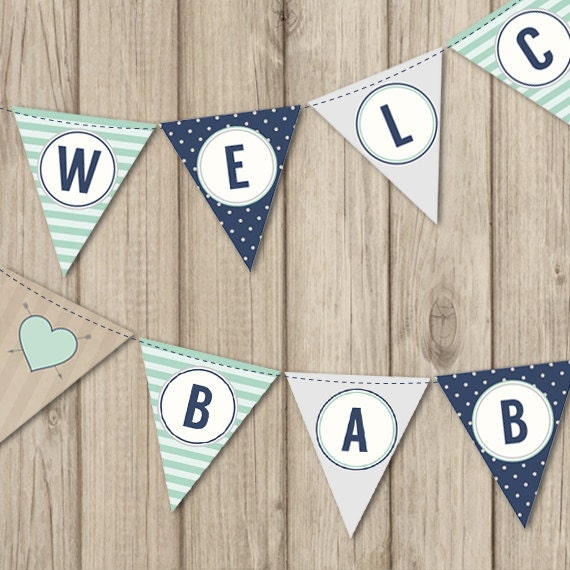 Rustic baby shower banner welcome baby boy banner mint and for Welcome home decorations for baby