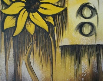 OilFlower - Abstract Sunflower Painting