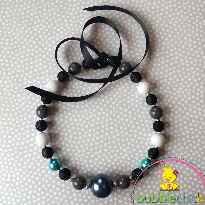 Full moon chunky beaded ribbon tie necklace by bubblechicchick for Ribbon tie necklace jewelry