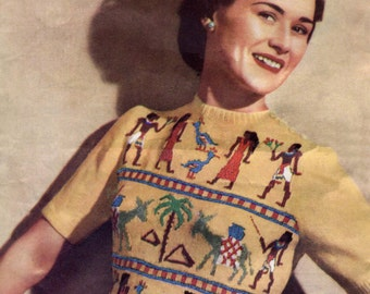 """Amazing 1940s Egyptian Fair Isle Jumper 36 to 38"""" Bust Weldons A790 Vintage Knitting Pattern Download"""