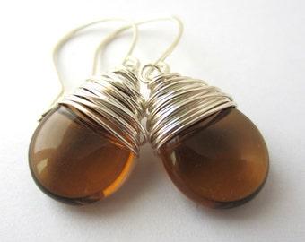Smoky Topaz Earrings Silver Wire Wrapped Earrings Tear Drop Earrings Wire Wrapped Jewelry Handmade Brown Earrings