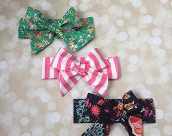 Set of Three Head Wraps in Premium Designer Woven Cotton - Navy Floral Head Wrap - Headband - Turban - Toddler Head Wrap - Newborn Photo Pro