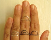 Silver Arc Ring - Single or Double Arc // Silver or Oxidized