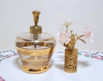 Holm Spray Glass Perfume Bottle Gold Trim with Gold Pierced and Flower Cap