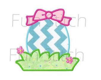 Easter egg applique machine embroidery design