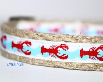 """Red Lobster Dog Collar, Lobster Ribbon Dog Collar, 5/8"""" Wide Collar, Adjustable Dog Collar, Pet Collars"""