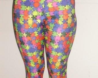 Puzzle pieces spandex adult leggings