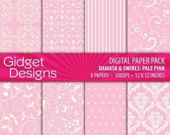 Pink Digital Paper Pack Damask Patterns Pale Pink Scrapbook Paper Pink Stripe Pink Polka Dots Instant Download Printable