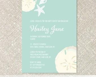 Beach Invitations, Sand Dollar Invitations, Baby or Bridal Shower Invitations, Birthday Invitations  - Customized Printable File