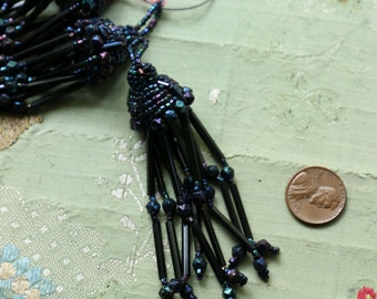 1 Antique glass bead trim iridescent black tassel victorian wedding French millinery net tulle hat cloche flapper doll dress trim