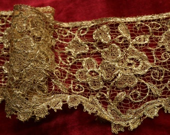 Antique metal lace gold flower flapper ribbonwork trim 1/2 yard intricate genuine metal millinery lampshade