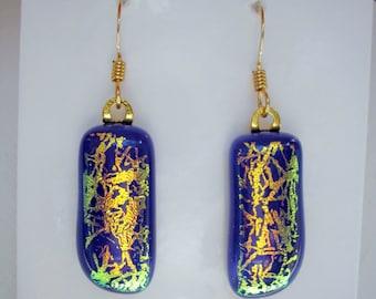 Earrings Fused Golden Frost Dichroic Blue Earrings 14K Gold Earwires Iridescent Glass Earrings Blue Fused Dichroic Glass Jewelry Dangles