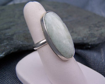 Large Aquamarine Ring in Sterling Silver