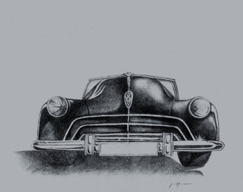 Digital Download Retro Classic Car 1958 FORD Original Pencil Drawing Art Print by Josh Nelson / Instant Download Drawing / 5 JPG / Graphics