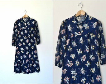 Navy long floral dress 70s Vintage Grunge Sheer Ruffled collar Drop Waist Plus size / size large - XL