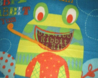 Happy Frog and Bees on Blue with Brown Lap Cover - Ready to Ship Now